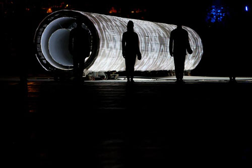 Beijing Olympics - Giant scroll transforms into a fluid array of movable type blocks
